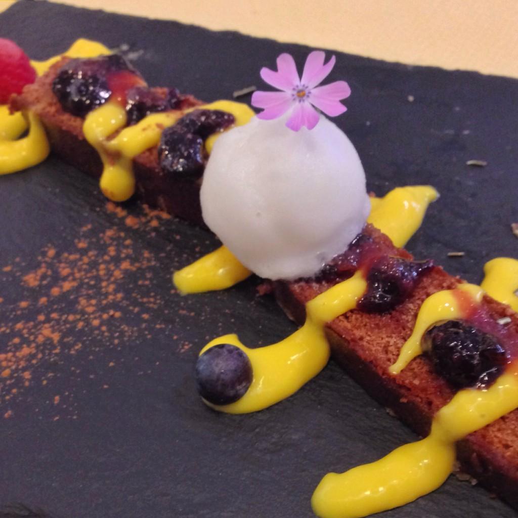 Vegan Spice Cake with Saffron Sauce and Lavender Sorbet