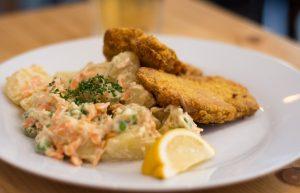 Vegan Schnitzel and Potato Salad from Bistro Strecha in Prague