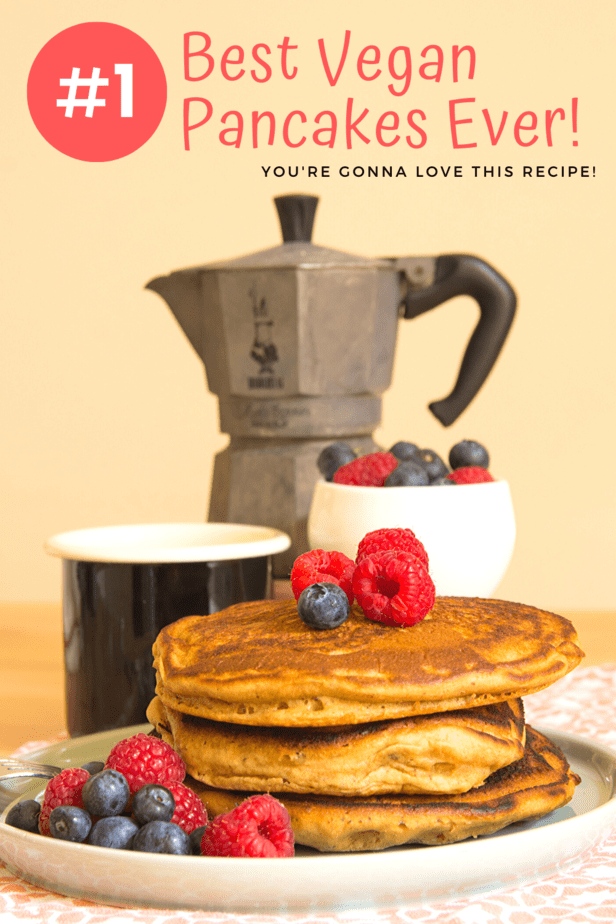 Easy, quick, and delicious vegan pancake recipe! You're going to love this plant based pancake recipe. It's perfect for Saturday brunch, Sunday morning, or as a late-night dessert. These tender and fluffy pancakes are to die for!