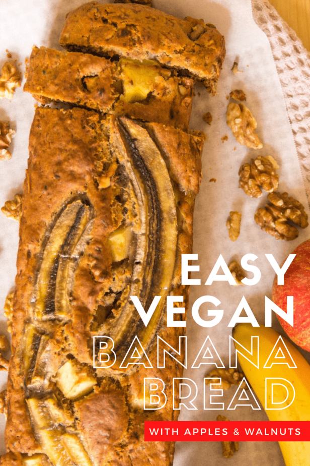 This vegan banana bread with apples and walnuts is so easy, anyone can make it! Seriously, if you can measure and mix delicious banana bread is only about an hour away!
