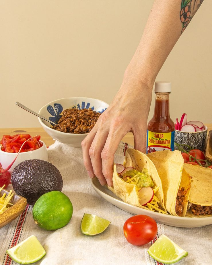 vegan taco meat recipe - tacos on the table