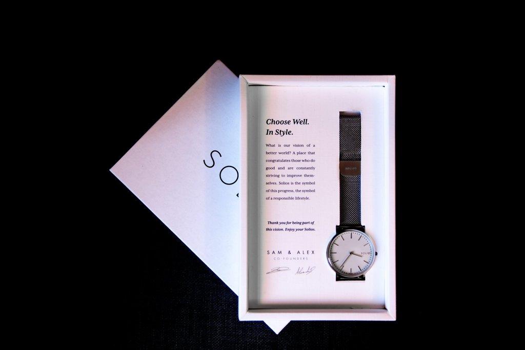 Solios Vegan Watch in Package