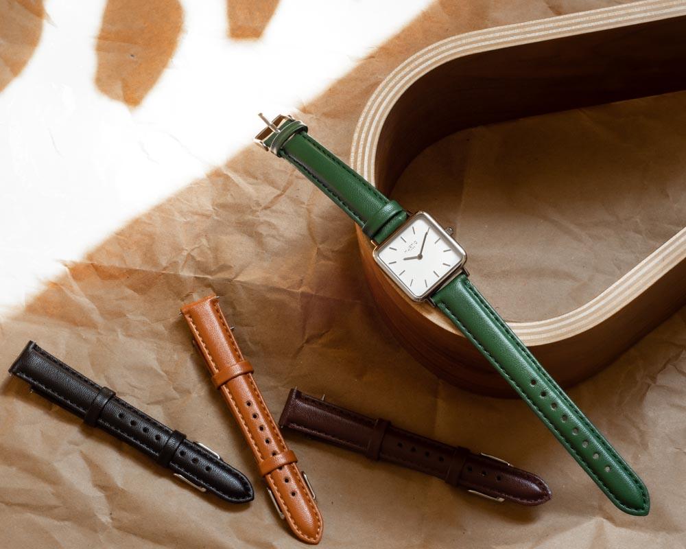 Neliö Square Vegan Leather Watch