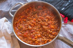 Finished Vegan Bolognese Sauce in Pan