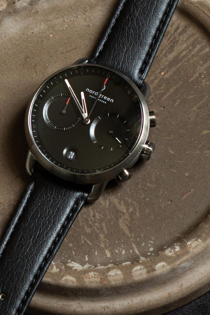 Nordgreen Vegan Mens Watch - Pioneer watch with a black dial and black vegan leather strap