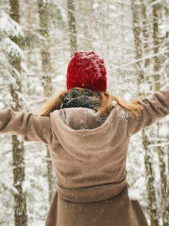 Vegan Winter Coat Girl in Snow Forrest